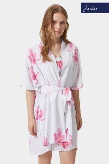 Joules White Beau Bloom Rita Dressing Gown