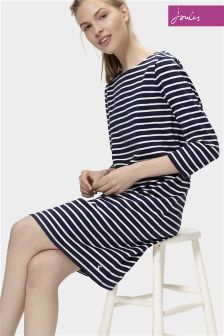 Joules Riviera Hope Stripe French Navy 3/4 Sleeved Jersey Dress