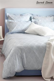 Secret Linen Store Teasels Blue Duvet Cover