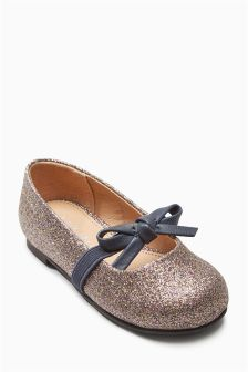 Glitter Bow Mary Janes (Younger Girls)