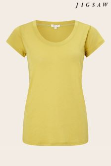 Jigsaw Yellow Pima Cotton Short Sleeve Tee