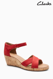 Clarks Red Unplaza Cross Strap Cork Wedge