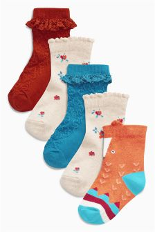 Fox Socks Five Pack (Younger Girls)