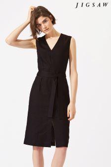 Jigsaw Grey Linen Belted Dress
