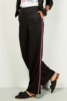 Wide Leg Side Stripe Trousers