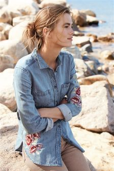 Embroidered Floral Shirt