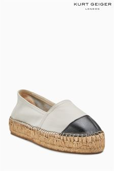 Kurt Geiger London White Black Mellow Espadrille Flat