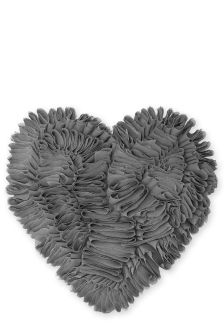 Charcoal Heart Ruffle Cushion