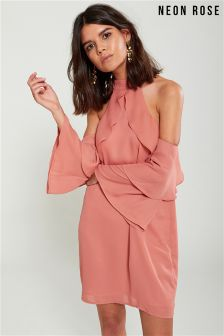 Neon Rose Nude Waterfall Cold Shoulder Shift Dress