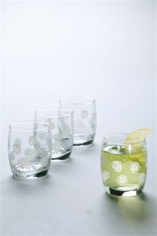 Set Of 4 Lemon Tumbler Glasses