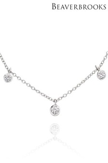 Beaverbrooks Silver Cubic Zirconia Choker Necklace