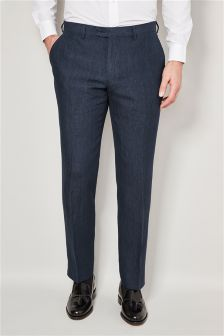 Blue Delave Linen Tailored Fit Trousers