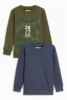 Camo Sweat Tops Two Pack (3-16yrs)