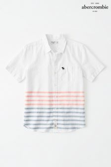 Abercrombie & Fitch White Printed Short Sleeve Shirt