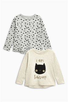 Cat Long Sleeve Tops Two Pack (3-16yrs)