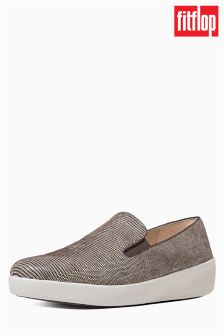 FitFlop™ Chocolate Superskate™ Lizard Print Suede Loafer