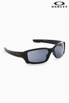 Oakley® Black Straightlink Wrap Around Sunglasses