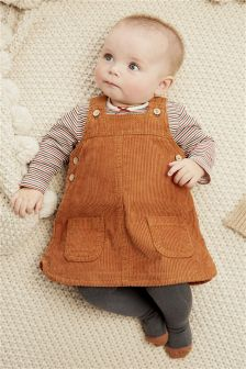 Cord Pinafore Dress, Bodysuit And Tights Set (0mths-2yrs)