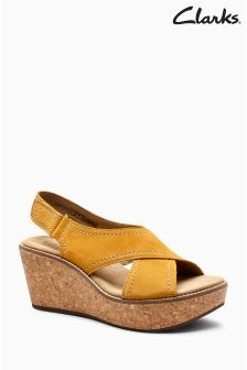 Clarks Yellow Nubuck Leather Ortholite Cross Strap Wedge