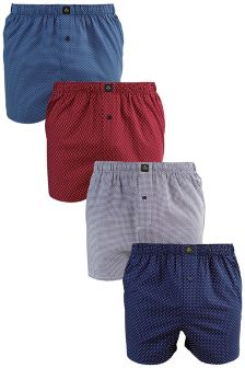Colour Mini Print Woven Boxers Four Pack