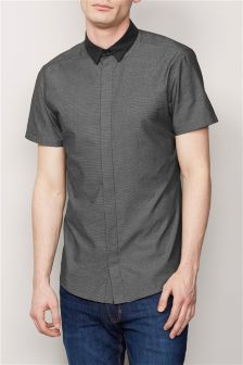 Short Sleeve Fly Front Smart Shirt