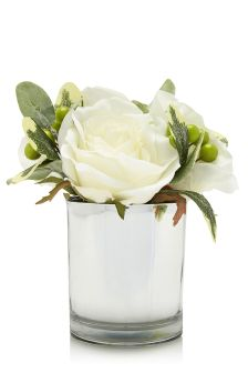 White Rose Cluster In Silver Pot