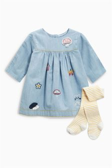 Embroidered Dress And Tights Set (0mths-2yrs)