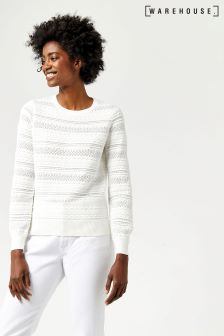 Warehouse Cream Pretty Stitch Jumper
