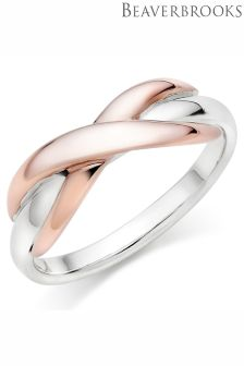 Beaverbrooks Silver And Rose Gold Plated Infinity Ring