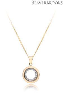 Beaverbrooks 9ct Gold Cubic Zirconia Circle Pendant