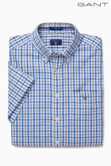 Gant Blue Oxford Check Short Sleeved Shirt