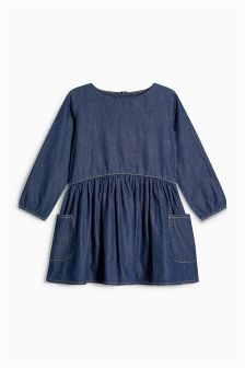 Long Sleeve Drop Pocket Dress (3mths-6yrs)