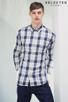 Selected Homme Grey Classic Check Shirt
