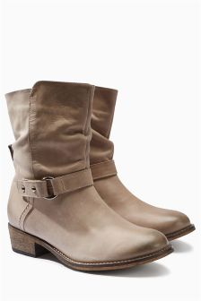 Leather Casual Strap Ankle Boots