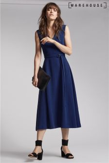Warehouse Navy V-Neck D-Ring Crepe Midi Dress