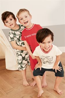 Dino Short Pyjamas Three Pack (9mths-8yrs)