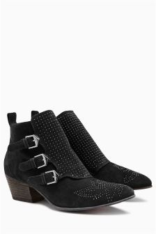 Leather Micro Stud Strap Boots