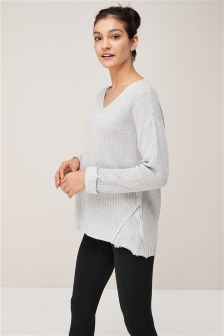 Knitted Jumper With Lace