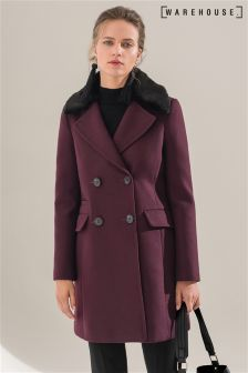 Warehouse Berry Double Breasted Faux Fur Collar Coat