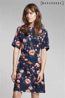 Warehouse Navy Painted Floral Ponte Dress