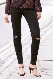 Ripped Sequin Skinny Jeans