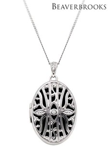 Beaverbrooks 9ct White Gold Diamond Oval Locket Pendant