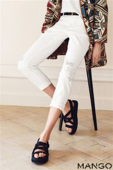 White Mango Distressed Girlfriend Fit Jeans