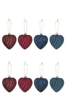 Set Of 8 Heart Baubles