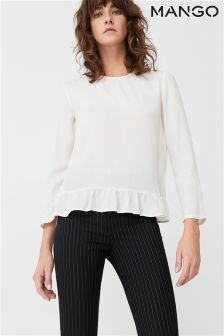 Mango White Flared Sleeve Blouse