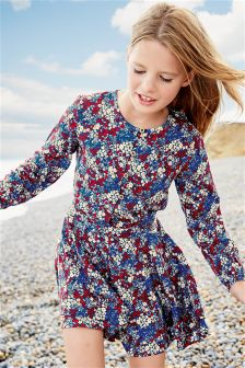 Ditsy Print Long Sleeve Playsuit (3-16yrs)