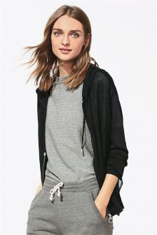 Zip Through Hooded Cardigan
