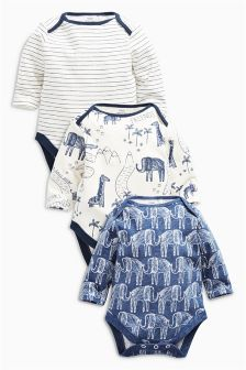 Elephant All Over Print Long Sleeve Bodysuits Three Pack (0mths-2yrs)