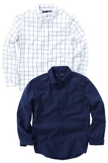 Long Sleeve Cotton/Linen Mix Shirts Two Pack (3-16yrs)