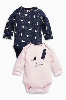 Long Sleeve Bunny Bodysuits Two Pack (0mths-2yrs)